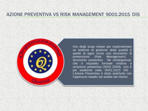 Azione preventiva vs Risk Management 90012015 DIS