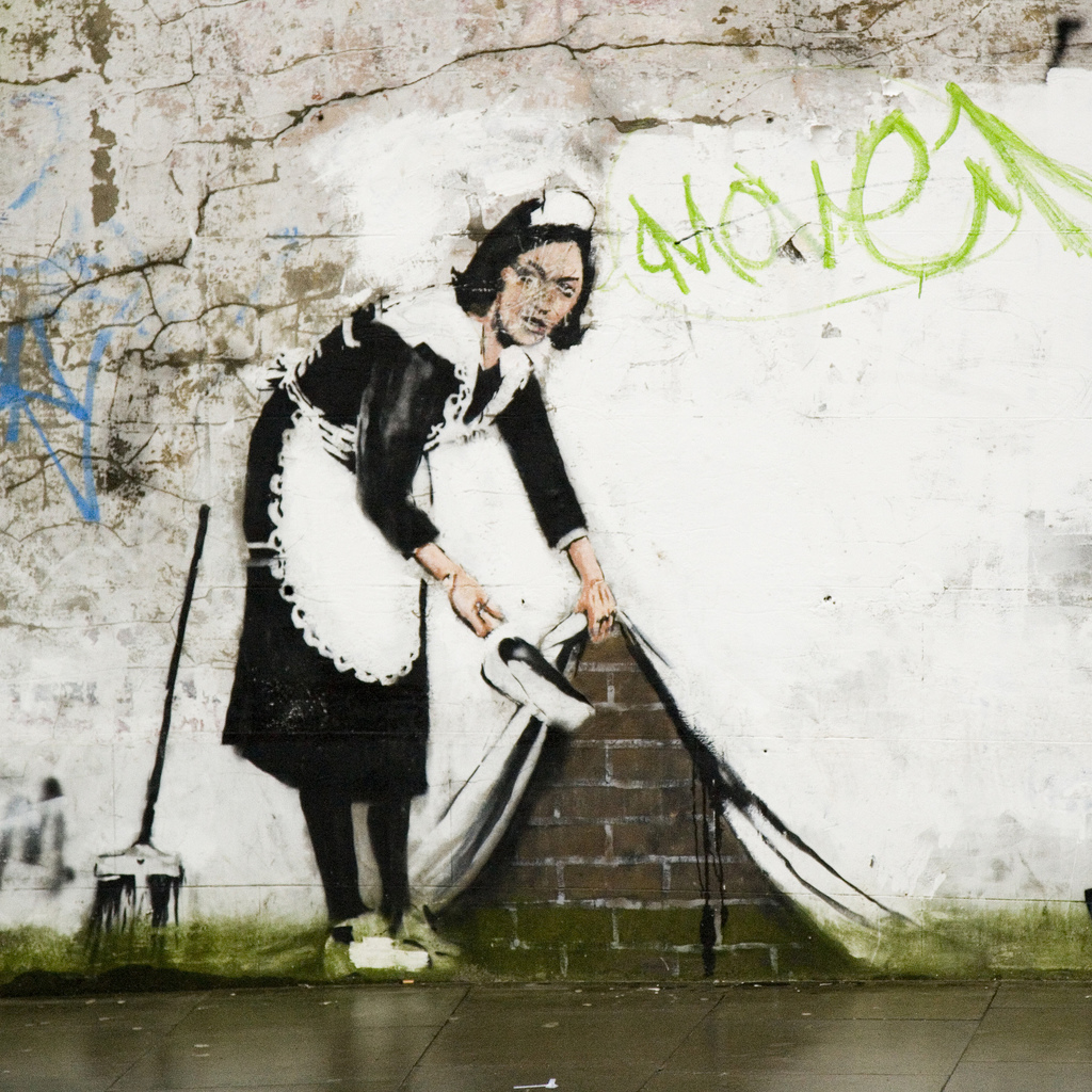 Banksy street cleaner - Chalk Farm
