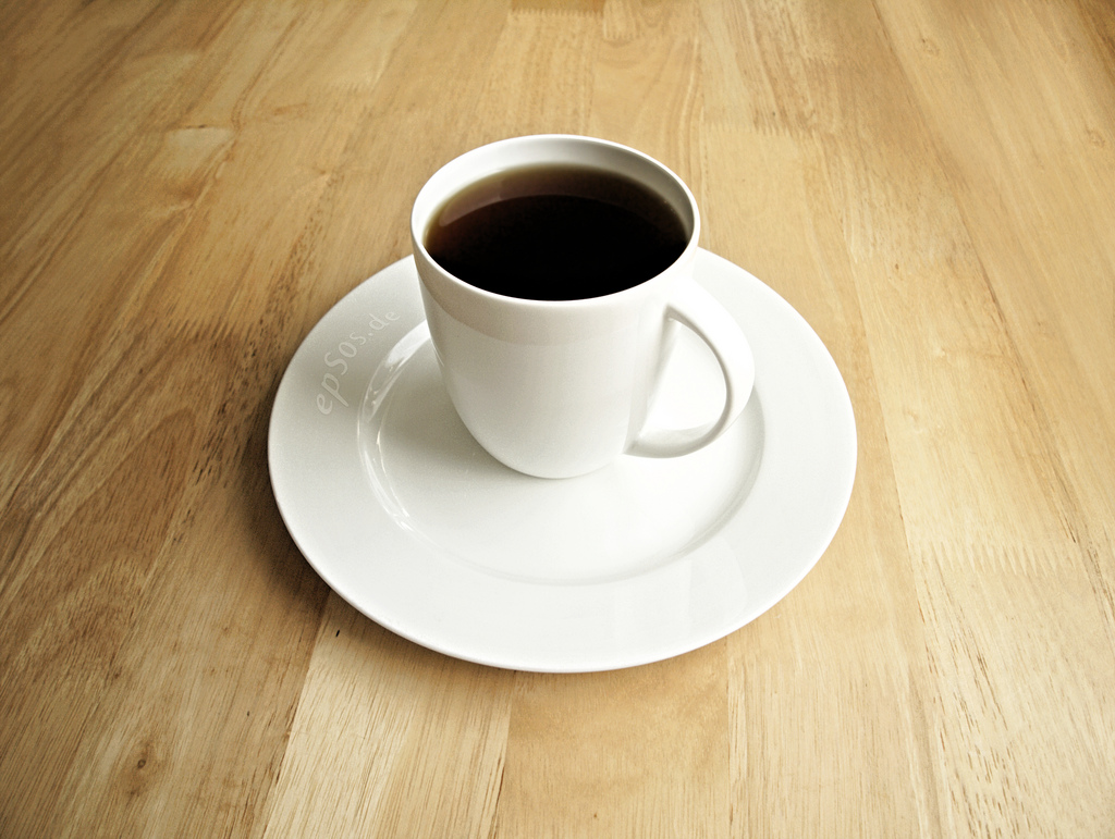 Black Coffee for Breakfast in White Porcelain Cup