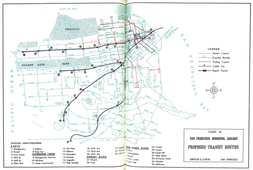 Coordinated Transit for the San Francisco Bay Area: San Francisco Municipal Railway Proposed Transit Routes (1967)
