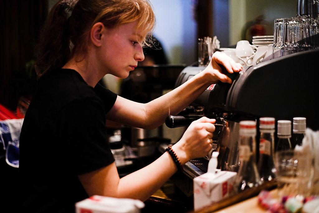 Girl Making Espresso