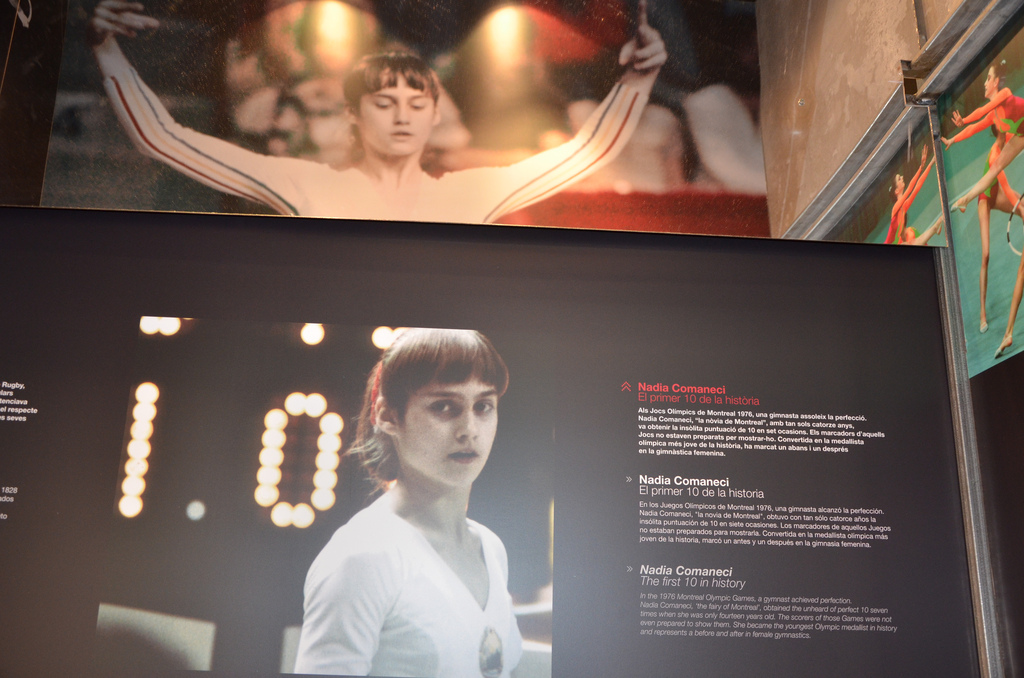 Nadia Comaneci and her Perfect 10 - board describing the feat at the Olympic museum in Barcelona